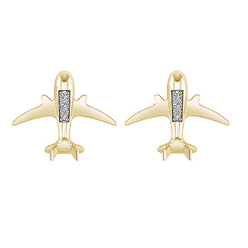 - 0.07 Ct Natural Diamond 925 Sterling Silver Flying Airplane Stud Earrings With Screw Back (I1-I2/G-H) (yellow-gold-plated-silver)