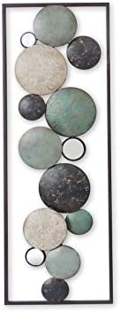 All American Collection New Modern Chic Aluminum/Metal Wall Decor Frame 12″x36″ Aqua/Grey/Beige Circle