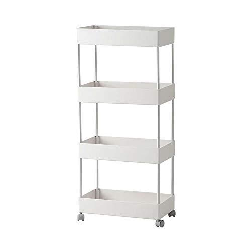 KINGBERWI 4-Tier Rolling Utility Cart Mobile Standing Storage Shelf Organizer, White ()