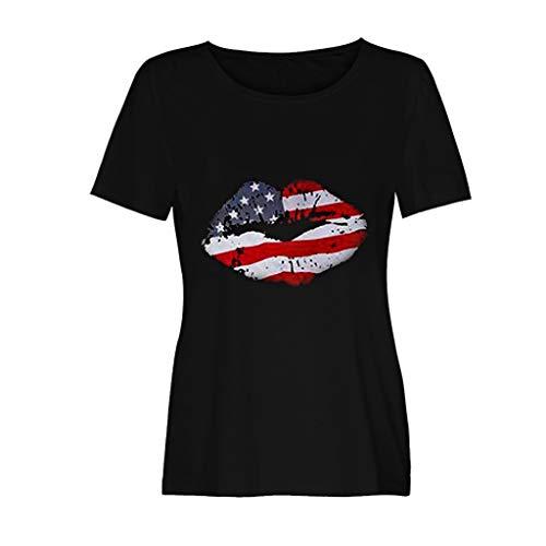 n 4th of July Loose US Flag Short Sleeve T-Shirt Top Blouse Black ()