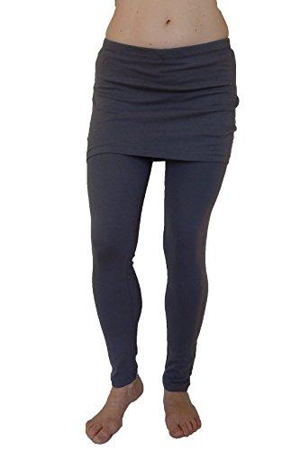 N 365 Women's Full Length Skirted Leggings-Charcoal,Charcoal Gray,Medium (Attached Mini Skirt)