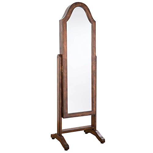 Hives and Honey Free Standing Jewelry Cabinet Full-Length Mirror Jewelry Armoire with Bell Shape, Jewelry Organizer for Rings, Earrings, Bracelets Cosmetics, Walnut