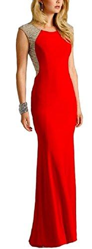Meier Women's Sleeveless Jersey Beaded Back Prom Formal Party Dress Red XXL