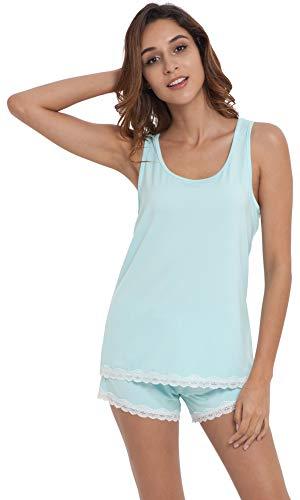 (NEIWAI Women's Short Pajamas Set Bamboo Tank Tops Sleepwear Set Aqua Green 2X)