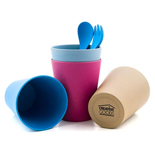 Creative Goods Bamboo Kids Cups With Utensils | No BPA or Phthalates FDA-Approved | Set of 4 Bamboo Toddler Cups with Spoon and Fork | Eco-Friendly and Biodegradable | Great Gift for All Ages.