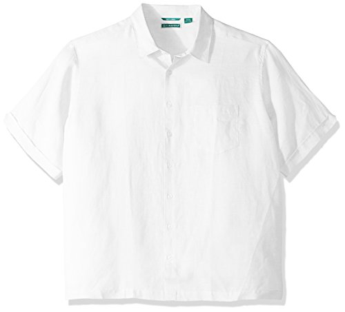 Cubavera Men's Tall Short Sleeve 100% Linen Cross-Dyed Button-Down Shirt with Pocket, Bright White, 2X-Large Big by Cubavera