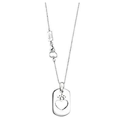 Barbie Rocks Sterling Silver Heart And Crown Dog Tag With Signature Heart And Tag by Barbie Rocks