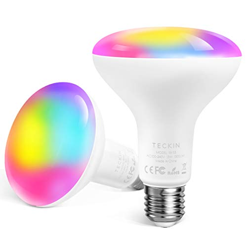 TECKIN Smart Light Bulb,LED RGB Color Changing,E27 100W 1300LM Equivalent Compatible with Alexa and Google Home,IFTTT,2900K-6000K BR30 WiFi Light Blubs(13W),1 Pack