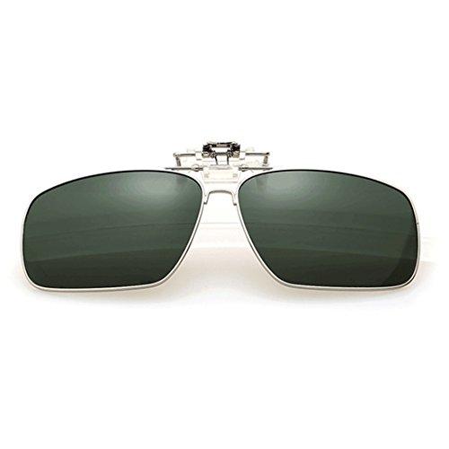 en de Oscuro sol Clip Verde Metal gafas sol gafas polarizadas Flip polarizado Unisex Inlefen de up rectangulares Clip TAIWqwTE