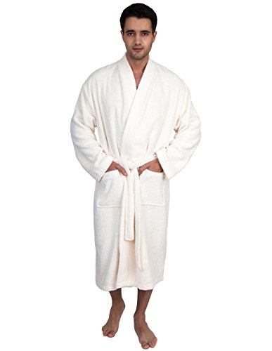 TowelSelections Organic Turkish Cotton Bathrobe Terry Kimono Robe for Men Small/Medium Ivory