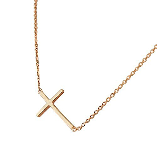 18K Glod Plated Simple Pendant Jesus Cross Necklace Titanium Steel Chain Classic Gothic Choker Short (18k Gold Choker)