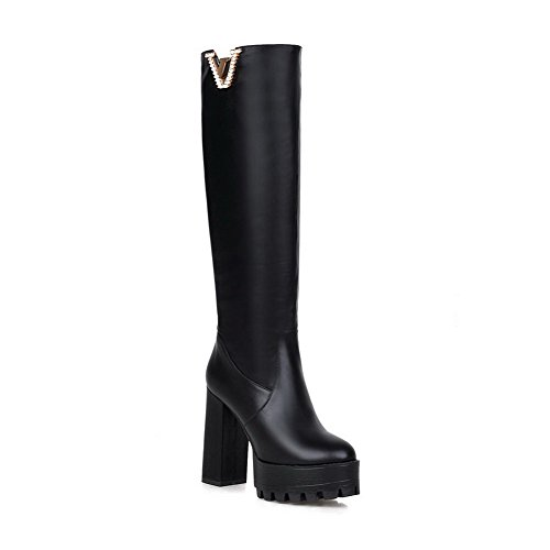 and High Platform Curves toe with Women's Round Closed AmoonyFashion heels toe Black Style Boots AzqXvwn