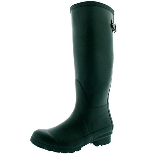 Donna Regolabile Posteriore Alta Inverno Pioggia Stivali Wellington Impermeabile Stivali Verde Scuro