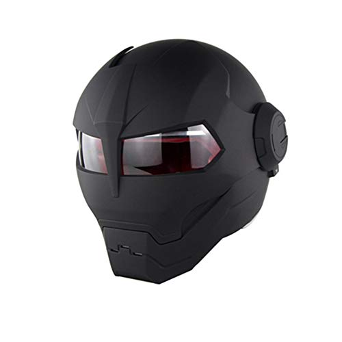 Matte Black Personality Iron Man Motorcycle Helmet - Modular Flip Helmet D.O.T Certified Road Race Cross Country Game Casco Moto Flip Open Face Mask,L