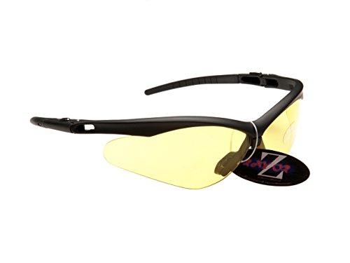 Rayzor professionnel léger UV400 Noir Sport Wrap cricket Lunettes de soleil, avec une lumière Améliorer Clair Jaune anti-reflet lentille.