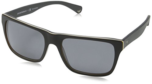 Emporio Armani 4048 539081 Top Black Matte Grey 4048 Rectangle Sunglasses - Giorgio Armani Top