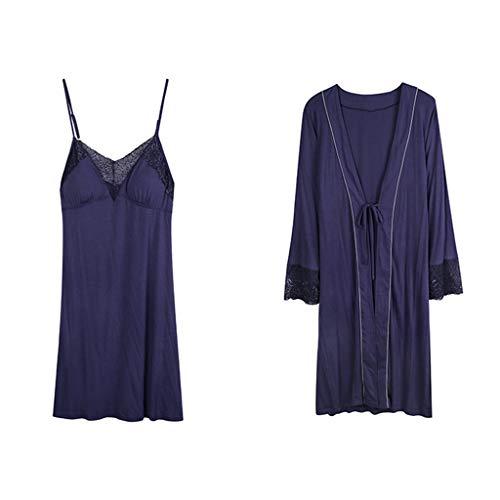 De Larga Y Size Sexy Sg Otoño Delgada Blue Sling Manga Camisón Mujeres color Blue Primavera Dos Pijamas Piezas xvq5ZnY5