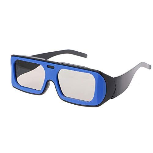 ForHe 1 Pair 3D Cinema Glasses Dual Color Frame for Passive TVs - Movie Theater Glasses - Circular Polarized (Blue+Black)