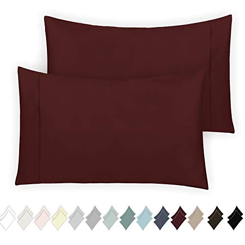 California Design Den 400 Thread Count 100% Cotton Pillowcase Set of 2, Long - Staple Combed Pure Natural Cotton Pillowcase, Soft & Silky Sateen Weave (Standard, Red Wine)