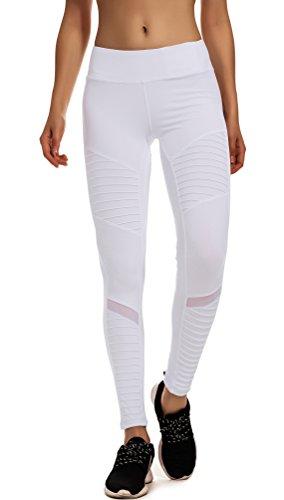 RUNNING GIRL Women's Moto Legging Mesh Yoga Pants White Workout Leggings with Hidden Pockets(1050White,S)