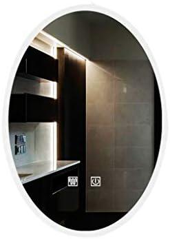 BLXFN 外光フレームレスオーバルLEDスマートミラーランプ付きトイレ壁掛けミラー防曇ミラー浴室ミラー