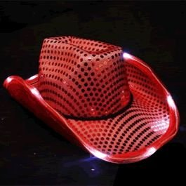 [LED Flashing Cowboy Hat with Red Sequins by Blinkee] (Child Red Cowboy Hat)
