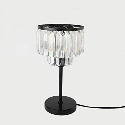ECOBRT Crystal Table Lamps Iron Frame Glass Fringe Luxe Black Crystal Table Lights fixtures in Bedroom Living Room Night Light