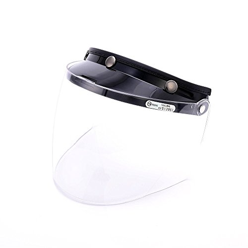 Universal 3 Snap Flip Up Visor Face Shield Lens for Open Face Motorcycle Helmets by MotorFansClub(Clear)