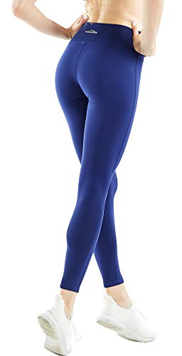 COOLOMG Women's Compression Leggings Workout Tights Non See-Through Long Pants for Yoga Running Dark Blue Adults X-Large (Best Leggings That Aren T See Through)