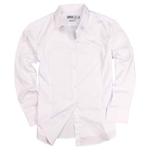 Urban Boundaries Womens Basic Tailored Long Sleeve Cotton Button Down Work Shirt (White, Medium)
