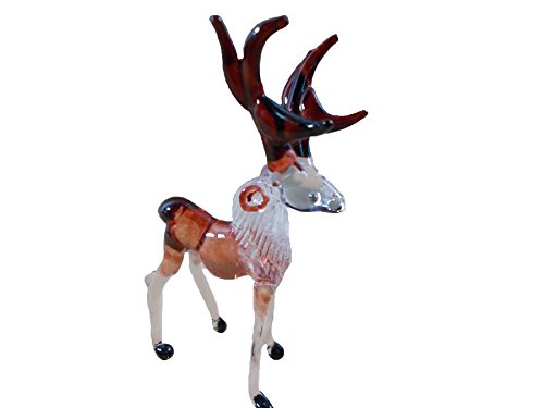 TINY CRYSTAL DEER HAND BLOWN CLEAR GLASS ART FIGURINE DECOR COLLECTION NEW YEAR GIFT GLASS BLOWN by Mr_air_thai_Glass_Blown