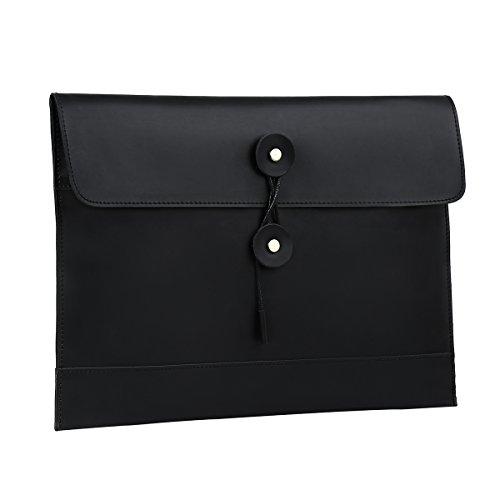 Leathario Leather Envelope Folder Case Portfolio Mens Clutch Portfolio Sleeve Case for MacBook Air 11.6 inch,12 inch Apple Ipad Padfolio File folder A4 document organizer Brown (black-1203)