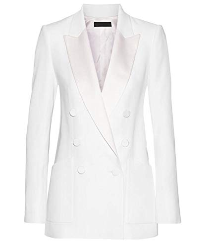 Women's Peak Lapel Business Suits 2 Pieces Double Breasted Wedding Groom Tuxedos (Large, ()
