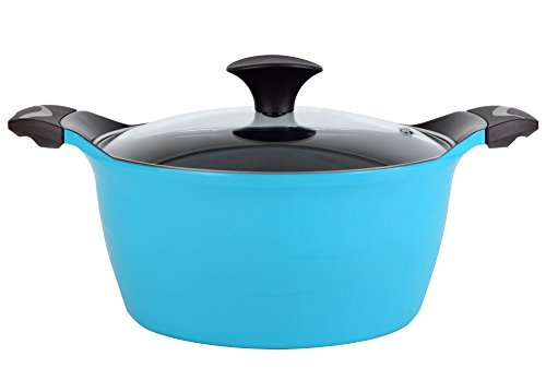 Cook N Home Nonstick Ceramic Coating Die Cast High Casserole Pan with Lid, 4.2 quart, Blue