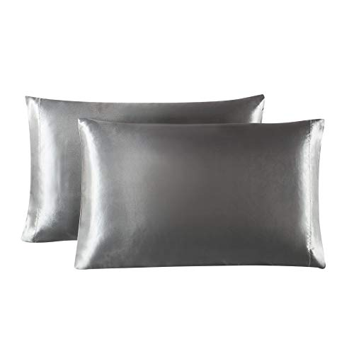 Lovescabin Two-Pack Satin Pillowcases Set for Hair and Skin King Size 20x40 Dark Grey Pillow Case with Envelope Closure (Anti Wrinkle,Hypoallergenic,Wash-Resistant)