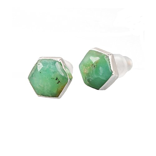 Earring Ring Jade (ZENGORI 925 Sterling Silver Hexagon Natural Australia Jade Stud Earrings for Women)