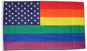 Rainbow / USA   3u0027 X 5u0027 Polyester Flag