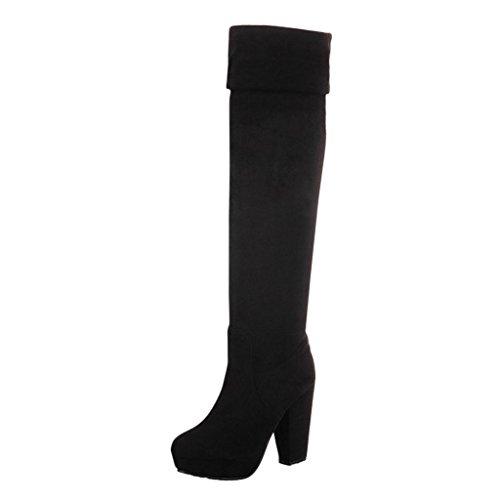 Hee Grand Winter Damen Elegant High Heels Overknee Stiefel Boots Schwarz