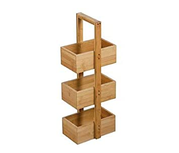 3 Tier Bathroom Storage Caddy Bamboo Floor Standing Trolley