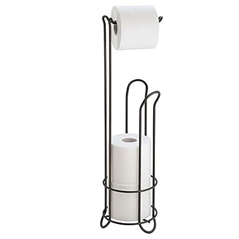 mDesign Portarrollos papel higiénico en acero inoxidable - Soporte para papel higiénico sin tornillos - Dispensador