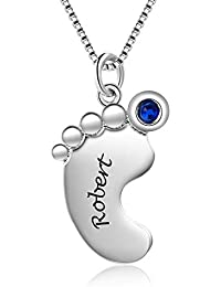 Personalized Necklace for Mother 1-4 Custom Baby Feet Pendant Necklace for Mom with Simulated Birthstone Free Engraving Baby Name or Date