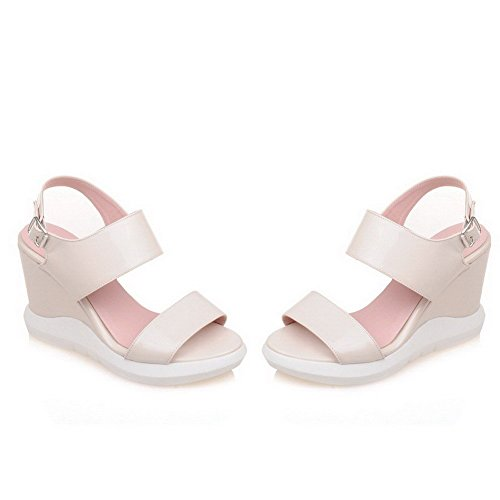 AllhqFashion Women's Open Toe Buckle Microfiber Solid High-Heels Sandals White H8AtFOY
