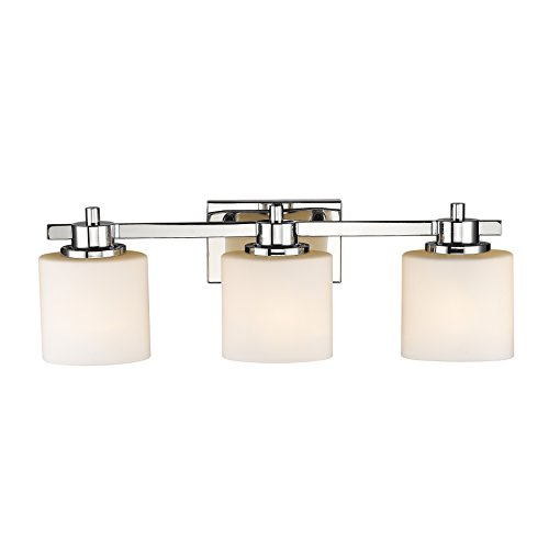 Chloe Lighting CH821036CM24-BL3 Contemporary 3 Light Chrome Finish Bath Vanity Wall Fixture White Alabaster Glass 24'' Wide by Chloe Lighting (Image #3)