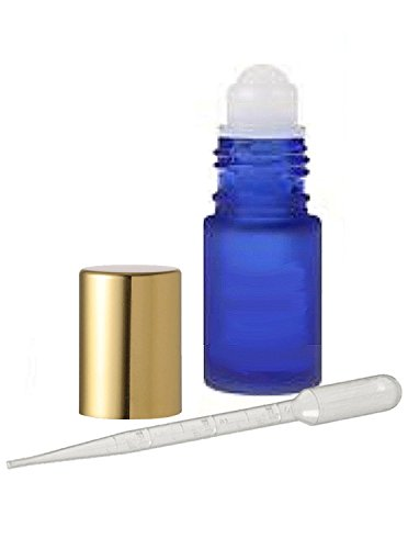 Grand Parfums 12 Glass Roll on Bottles, Cobalt Frosted Blue Glass Gold Caps 4ml, 1/8 Oz for Fragrance, Aromatherapy, Essential Oils, Lip Gloss/Balm