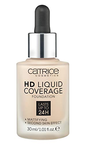 Catrice HD Liquid Foundation (010 Light Beige) - High & Natural Coverage, Vegan