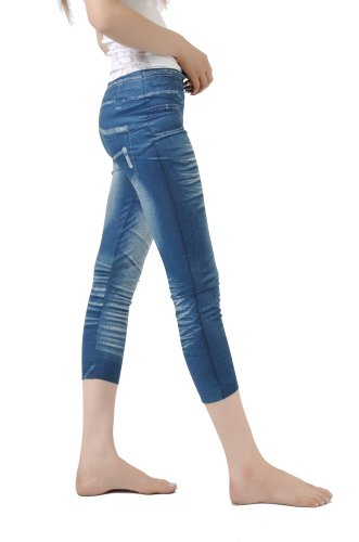 Emma's Mode Junior Printed Jean Capri Legging SG-SPC03-blue