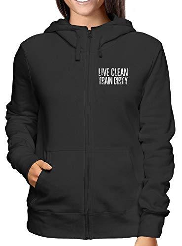 Live Clean Zip Train shirtshock E Donna Cappuccio Dirty Fun2377 Felpa T Nero B8zFqBTw