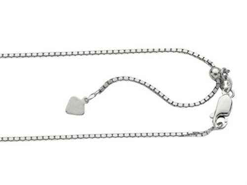 Finejewelers Rhodium Plated 22 Inch bright-cut Adjustable Box Chain Necklace with Lobster Clasp and Small Heart Charm