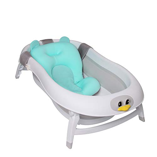 Baby Brielle 3-in-1 Portable Collapsible Infant to Toddler Space Saver Foldable Bath tubs - Anti Slip Skid Proof - with Cushion Insert & Water Rinser for Bathing Newborns by Baby Brielle (Image #1)