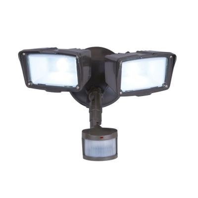 Defiant 180 Degree Outdoor Motion Activated Bronze LED Twin Security Floodlight
